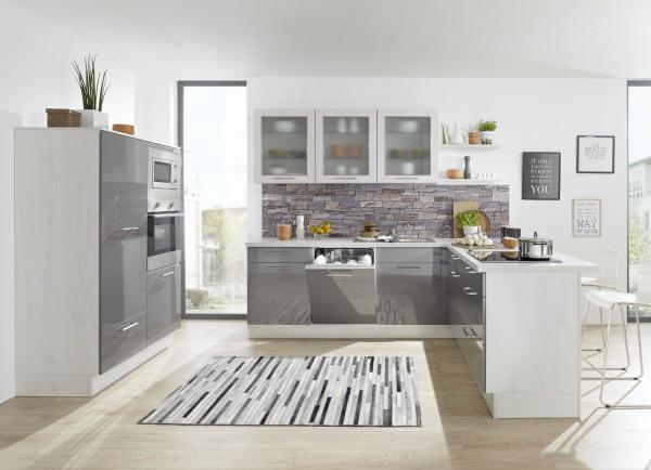 L-Küche mit Anbauwand grau weiss lackiert Burger Susann ...
