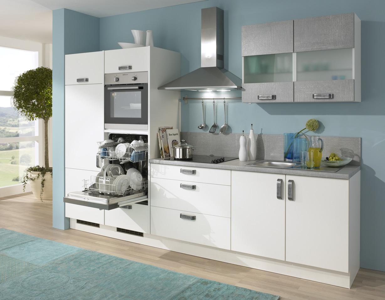 Kuchenzeile Mit Hocheingebauten Backofen Und Geschirrspuler